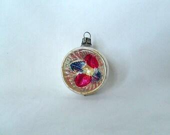vintage glass ornament, Poland, rare Christmas ornament, silve with deep indent, vintage Christmas tree decor