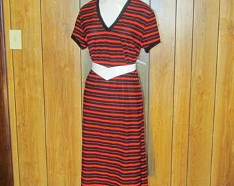 On Sale-Fantastic STRIPED Vintage V NECK Day Dress