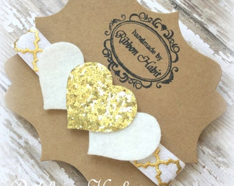 Glitter Heart Headband- Gold & White Glitter- Felt Infant Headband- White Hearts Headband, Glitter Elastic Headband, Gold Toddler Headband