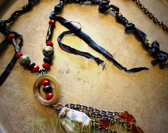 Long Layering Necklace Kali Witchy Textile Silk Raw Druzy Garnet Berber Beads Bone Talhakimts Boho Bellydance