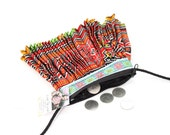 Colorful Coin Pouch With Long Strap Vintage Hmong Fabric Handmade Thailand (BG6772CB.3)