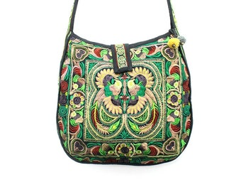 Green Cross-Over Fair Trade Handbag Hill Tribe Embroidered Fabric Thailand Cloth Strap (BG136-GB)