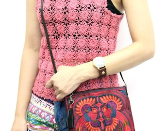Hill Tribe Cross Body Bag With Tassel Zipper Pull Removable Leather Strap (BG5108-RB)