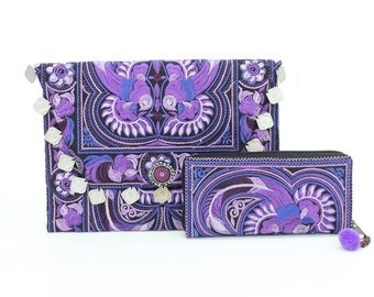 Purple Bird Embroidered Boho Clutch and Wallet Set of 2 Fair Trade Thailand (ST6639-17C9)