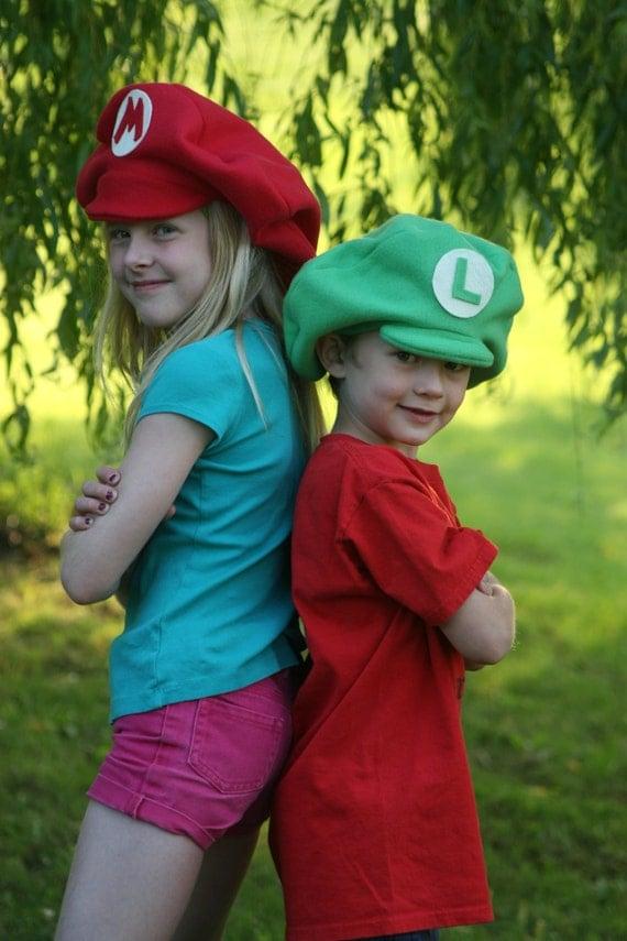 Super Mario Brothers Inspired-Child's Fleece Luigi & Mario Hats - Dress Up - Dramatic Play
