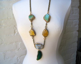 Moroccan Calcite Mix with Green Agate Drop -colorful STATEMENT Necklace-Pauletta Brooks Wearable Art