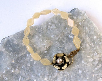 Pale Yellow- Aventurine- Vintage Floral Clasp with Pearl- Classic-Bracelet-Summer Color!