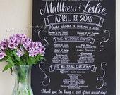 "Wedding program, 18"" x 24"" canvas, custom ink drawing, hand lettering, chalkboard style"