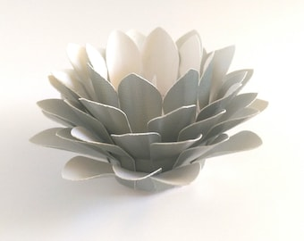 Paper Flower Decor - Metallic Pale Green  - Tealight holder - Handmade Paper Lotus - Flower Table Lamp  - Waterlily - 3d Paper Art