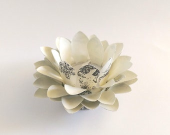 Paper Lotus Flower - Toile Black and Cream - Paper Lotus Lamp - Tealight holder - Waterlily - Home Essentials - Paper Flowers - Home Decor