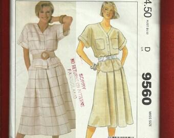 Vintage 1980's McCalls 9560 Liz Claiborne Pleated Skirt & Blouse Safari Chic Size 12