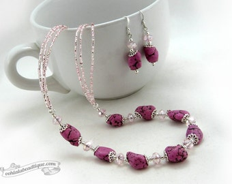 Pale Fuchsia Jewelry Set, necklace earrings set, howlite necklace fuchsia choker necklace fuchsia earrings statement necklace gift for her