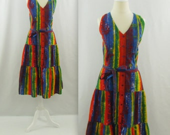 Caribbean Escape Midi Summer Dress - Vintage 1980s Colorful Drop Waist Sundress in Small Medium