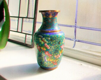Vintage Chinese Cloisonne Bud Vase Brass and Enamel