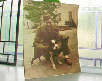 Vintage Color Photograph Soldier and His Dog 1940s 8 x 10