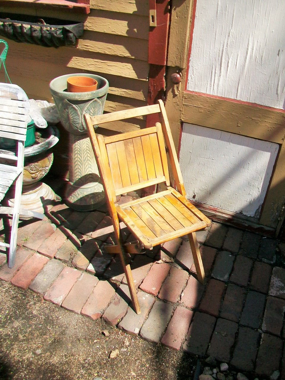 vintage wood folding chair wooden slats