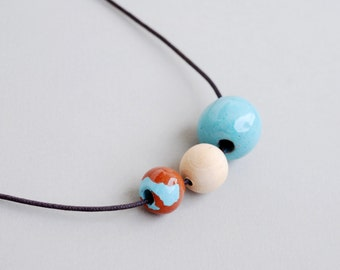 Pastel Blue And Wood Ceramic Necklace, Clay Necklace, Handmade Necklace, Rustic Necklace