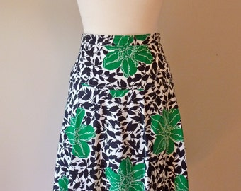 90's Givenchy Cotton Full Skirt Bold Floral Op Art Black and White Green S