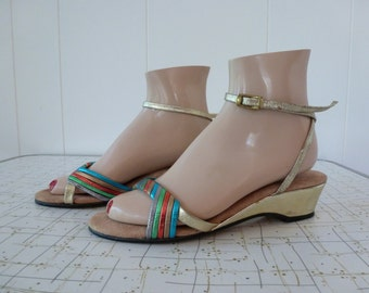 70's Disco Metallic Candy Stripe Leather Wedge Sandals Woven Gold Ankle Strap Shoes 6