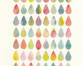 Colorful Raindrops Design, original watercolor painting, 8x10, yellow, orange, pink, blue