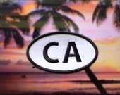 """California CA Patch - Iron or Sew On - 2"""" x 3.5"""" - Embroidered Oval Appliqué - The Golden State - Black White Hat Bag Accessory Handmade USA"""