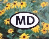 """Maryland MD Patch - Iron or Sew On - 2"""" x 3.5"""" - Embroidered Oval Appliqué - The Old Line State - Black White Hat Bag Accessory Handmade USA"""