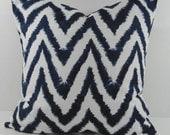 Chevron Navy Blue Ikat Pillow Cover, Decorative Pillow Cushion, 18 x 18, Zigzag, Shibori, Boho Pillow Cover