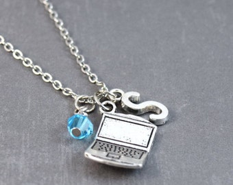 SALE Computer Necklace, Computer Jewelry, Initial Jewelry, Tech Jewelry, Nerd Jewelry, Gamer Necklace, Nerd Necklace, Gamer Gifts