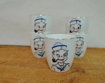 Vintage Popeye Sailor Boy Shot Glass or Egg Cups - National Potteries Co - Vintage Navy - 1930s Collectible Ceramic Cups - Retro Bar Ware