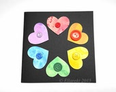 Watercolour Hearts & Buttons Black Greeting Card #13