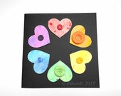 Watercolour Hearts & Buttons Black Greeting Card #15