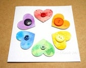 Watercolour Hearts & Buttons Cream Greeting Card #4