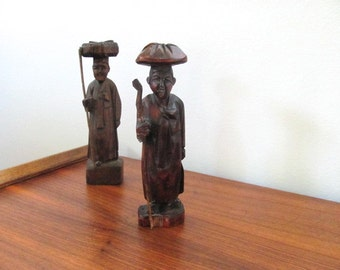 vintage carved wooded Asian figurines, small wood statues, home decor, mid century