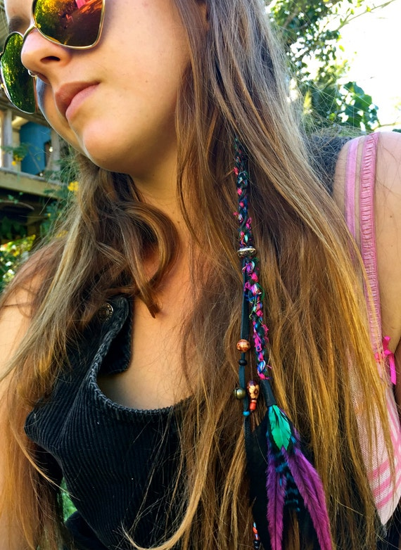 Feather Hair Clip\/\/Hippie hair wrap\/\/ Feather hair extensions\/\/Faux ...