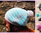 Crochet Beanie Oversized Chunky Striped Bobble Hat - Pompom Hat