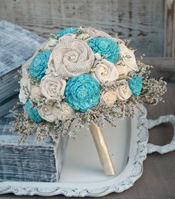 aqua wedding flowers