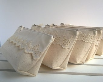Lace and Linen Bridesmaid Clutches, Cotton Clutches, Lace Clutch, Make Up Bag, Rustic Wedding, Bridesmaid Gifts- Set of 10