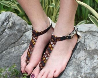 Womens T Strap Sandals In Ethnic Hand Woven Burmese Kachin Textiles Vegan Flats - Sita