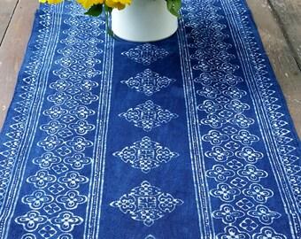 94 inch Table Runner In Natural Hmong Indigo Batik On Cotton - Free Worldwide Shipping