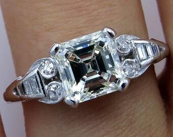 Art Deco 1.78ct Antique Vintage Asscher, Square Emerald  Cut Diamond Engagement PLATINUM and Gold Ring, Circa1920