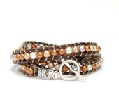 Brown Leather Cord with Varying Shades of Gold, Copper, Silver and White Swarovski Pearls Wrap Bracelet