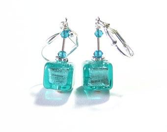 Murano Glass 8mm Sea Green Cube Earrings, Venetian Sea Foam Earrings, Italian Jewelry, Sterling Silver Leverback Earrings, Clip On Earrings