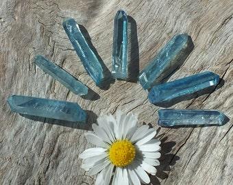 Aqua Aura Quartz Crystal Points, x7, Raw Rough Minerals ~ Jewelry Supplies Supply ~ 4g / 17-22mm ~ Spiritual Wisdom ~ Throat Chakra (4-4)
