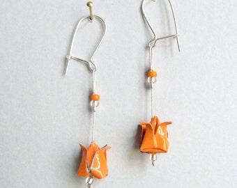 Orange Lotus flower Origami earrings