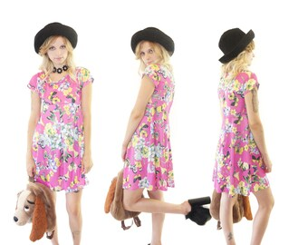 Digital Print 90s Butterfly Kisses Babydoll Dress, Vintage Mini Dress, 90s Cyber Kid, Women's Size Small/Medium