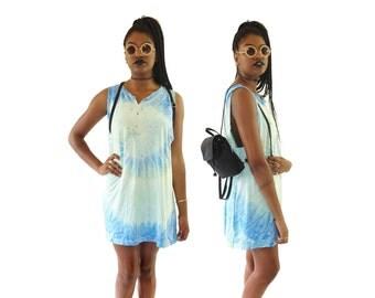 Pastel Tie Dye 90s Tattered Oversized Mini Dress, 90s Beach, Vintage Tie Dye Dress, Free Size