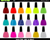 50% OFF  Nail Polish Clipart - Rainbow Nail Polish Clipart - Make-up Graphics - Rainbow Clipart - Commercial Use