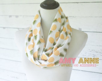 Adult Pineapple Southern Print South Fruit Jersey Knit Infinity Scarf Scarves Great Gift. Amy Anne Apparel