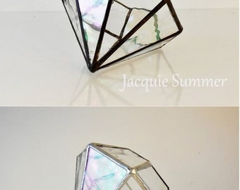 Terrarium, Iridescent Water Glass, Clear Glass Terrarium, Wedding Gift, diamond shape plant holder