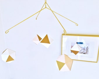 modern geometric mobile - baby mobile - nursery mobile - white blush